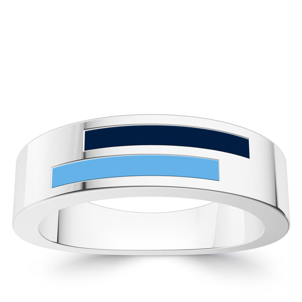 Tampa Bay Rays Asymmetric Enamel Ring In Sterling Silver