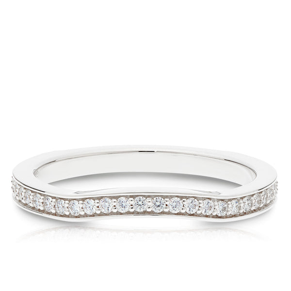 Bixlers Prong Set Diamond Contour Wedding Band In 14K White Gold