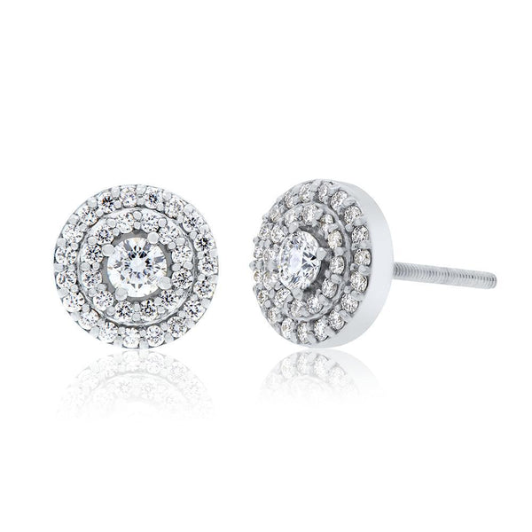 Bixlers Easton Diamond Double Halo Earring In 14K White Gold