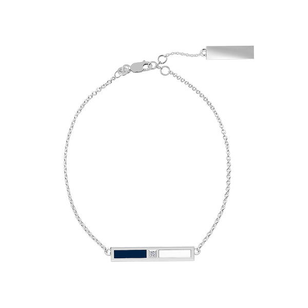 Yale University Diamond Bar Bracelet In Sterling Silver