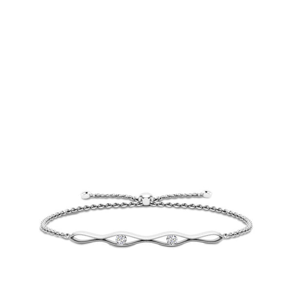 Bixlers Easton Diamond Milgrain Entwined Bracelet In 14K White Gold