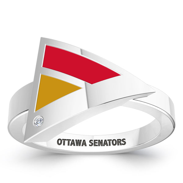 Ottawa Senators Diamond Engraved Geometric Ring In Sterling Silver