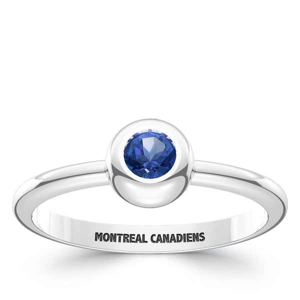 Montreal Canadiens Sapphire Engraved Ring In Sterling Silver