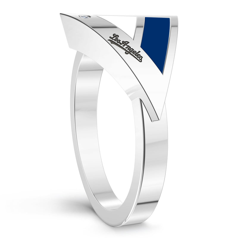 Los Angeles Dodgers Diamond Engraved Geometric Ring In Sterling Silver