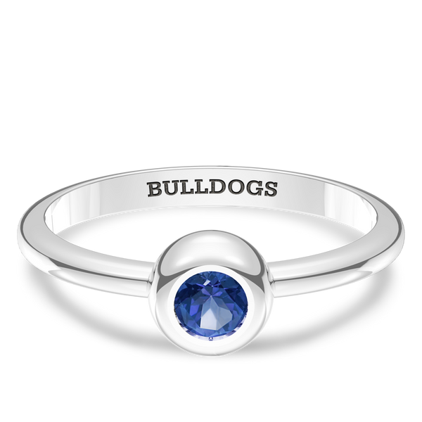 Yale University Sapphire Engraved Ring In Sterling Silver