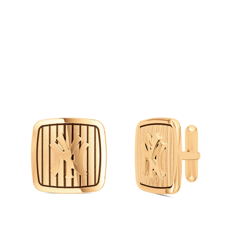 New York Yankees Pinstripe Logo Rounded Cufflink In 14K Rose Gold
