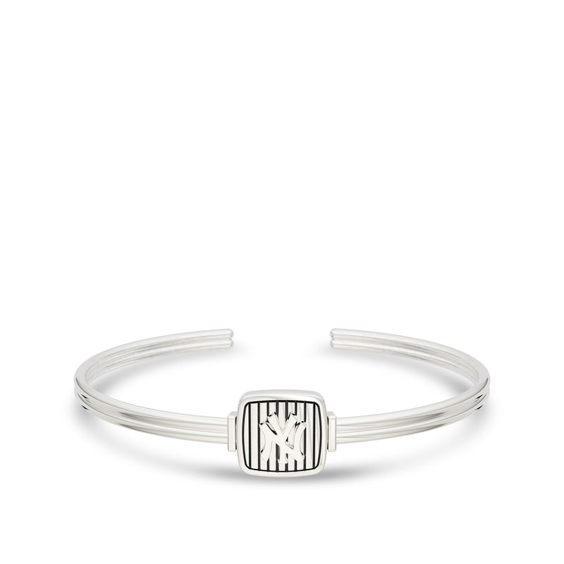 New York Yankees Pinstripe Logo Cuff Bracelet In Sterling Silver