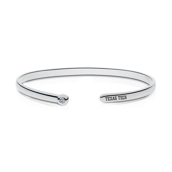 Texas Tech University Diamond Engraved Cuff Bracelet In Sterling Silver