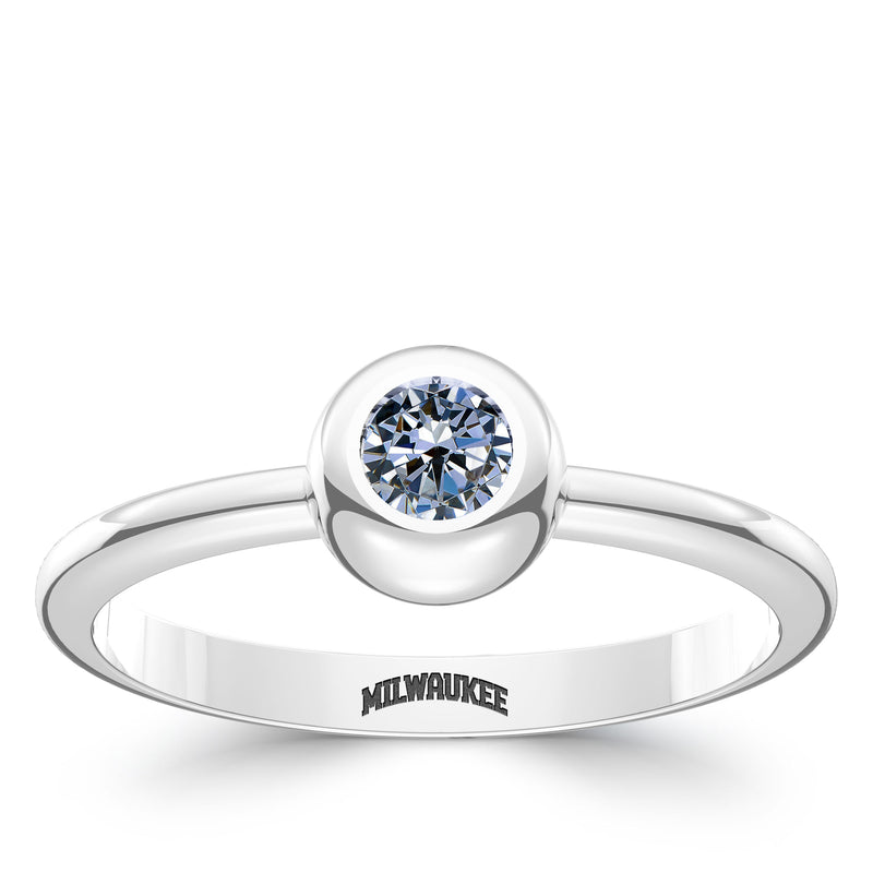 Milwaukee Brewers White Sapphire Engraved Ring In Sterling Silver