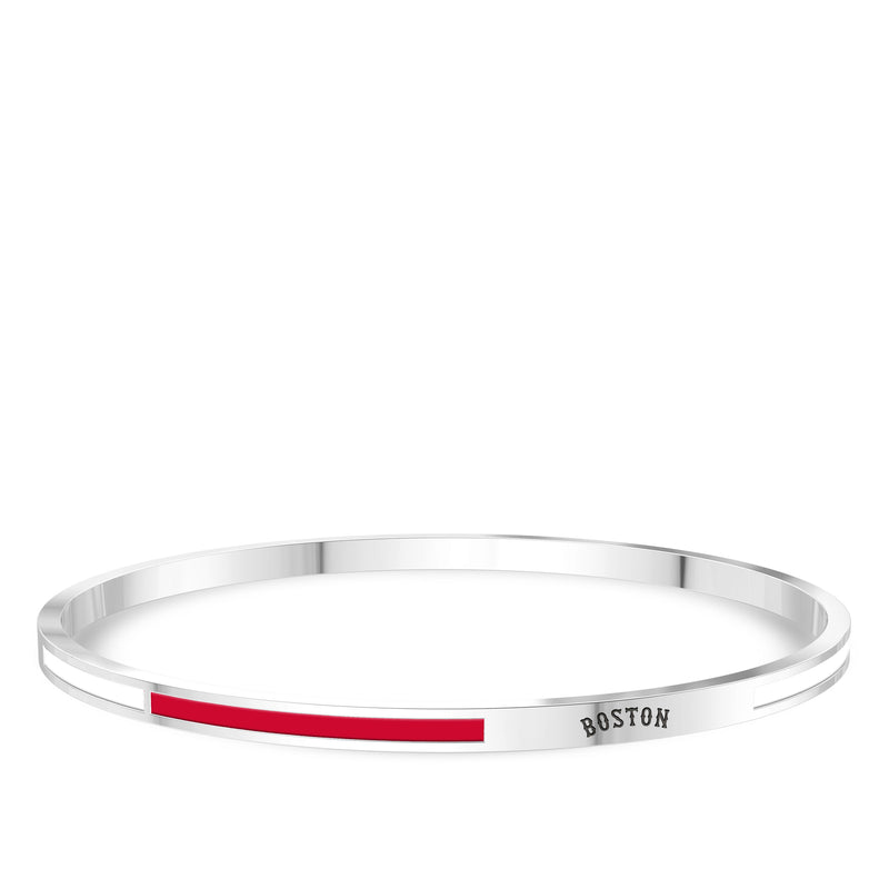 Boston Red Sox Engraved Two-Tone Enamel Bracelet In Sterling Silver