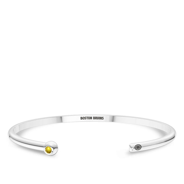 Boston Bruins Yellow Sapphire Engraved Cuff Bracelet In Sterling Silver