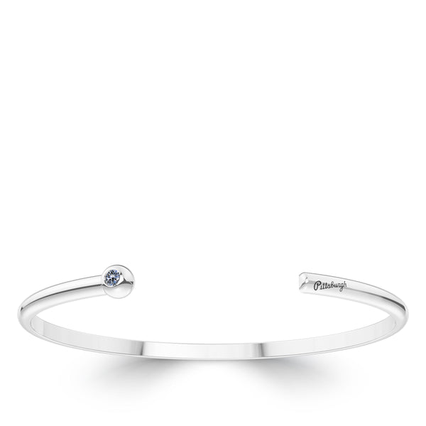 Pittsburgh Pirates White Sapphire Engraved Cuff Bracelet In Sterling Silver
