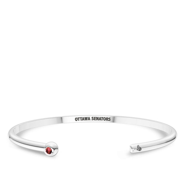 Ottawa Senators Ruby Engraved Cuff Bracelet In Sterling Silver