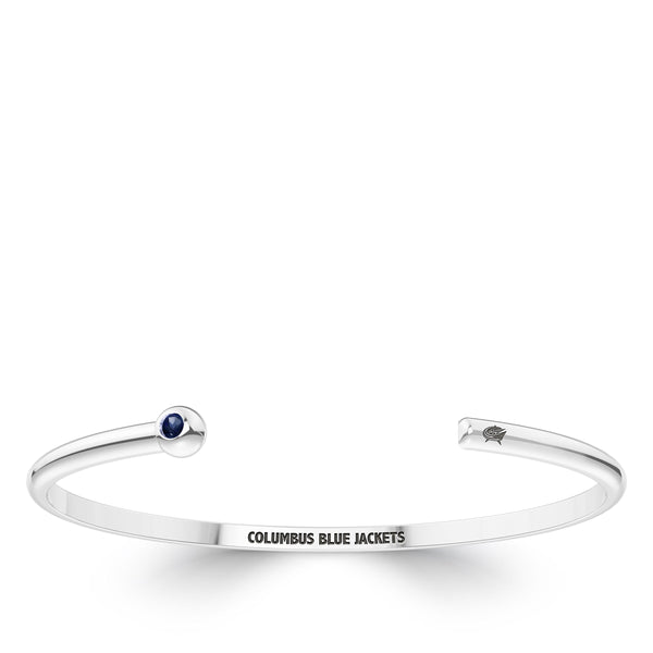 Columbus Blue Jackets Sapphire Engraved Cuff Bracelet In Sterling Silver