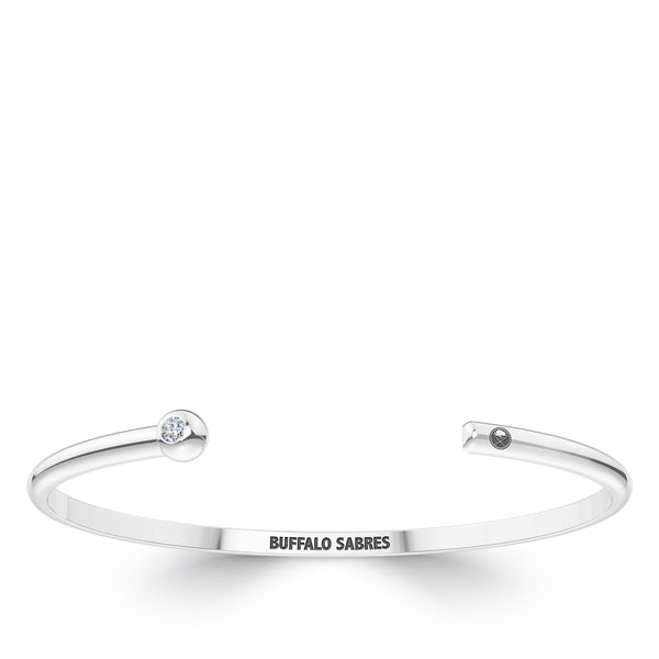 Buffalo Sabres Diamond Engraved Cuff Bracelet In Sterling Silver