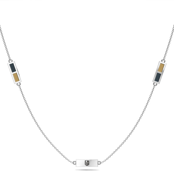 Vegas Golden Knights Triple Station Necklace In Sterling Silver