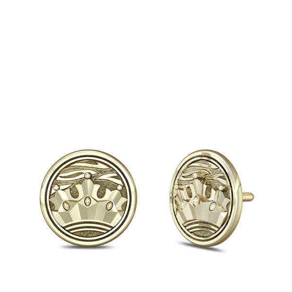 """The Notorious"" Conor Mcgregor Crown Stud Earring In 14K Yellow Gold"