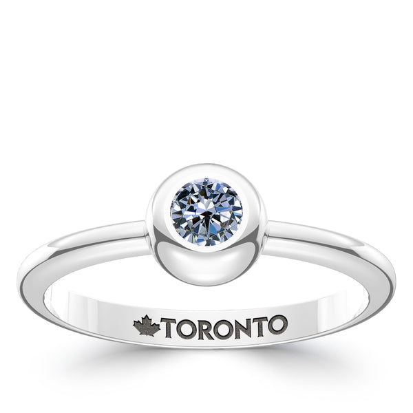 Toronto Blue Jays White Sapphire Engraved Ring In Sterling Silver