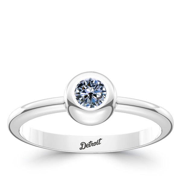 Detroit Tigers White Sapphire Engraved Ring In Sterling Silver