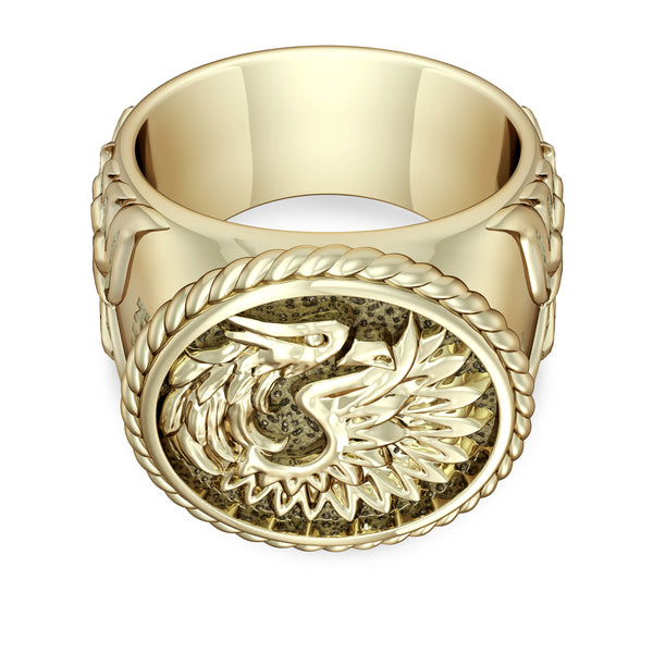 "Khabib ""The Eagle"" Nurmagomedov Mens Eagle Ring In 14K Yellow Gold"