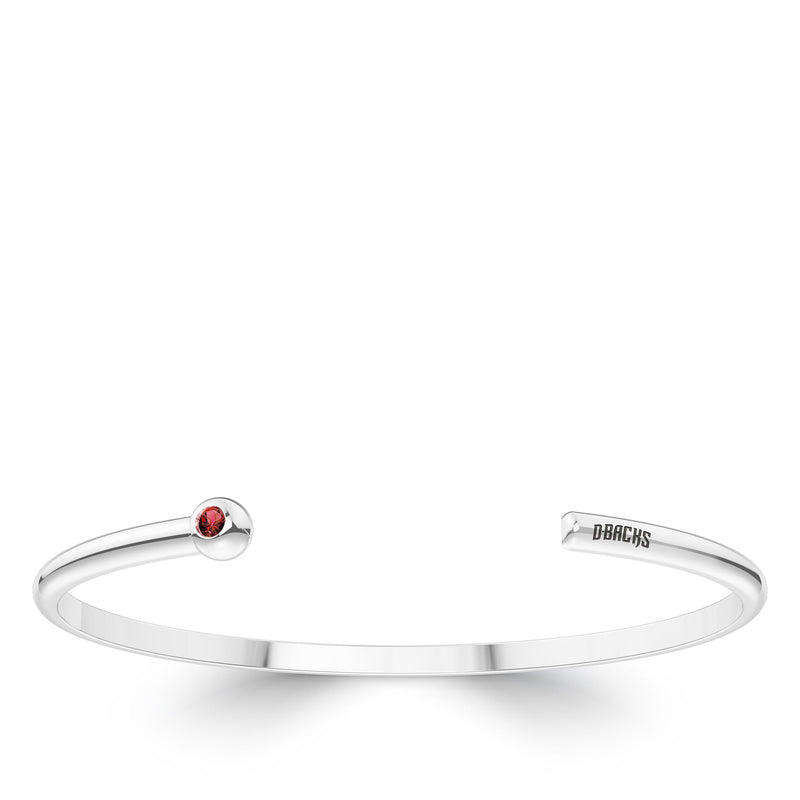 Arizona Diamondbacks Garnet Engraved Cuff Bracelet In Sterling Silver
