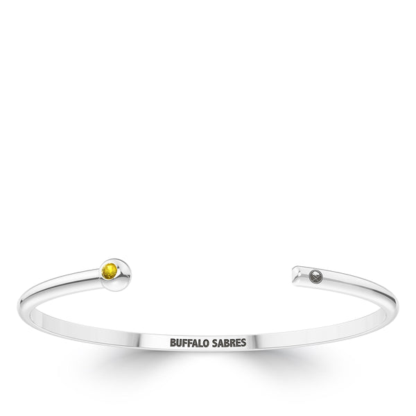 Buffalo Sabres Yellow Sapphire Engraved Cuff Bracelet In Sterling Silver