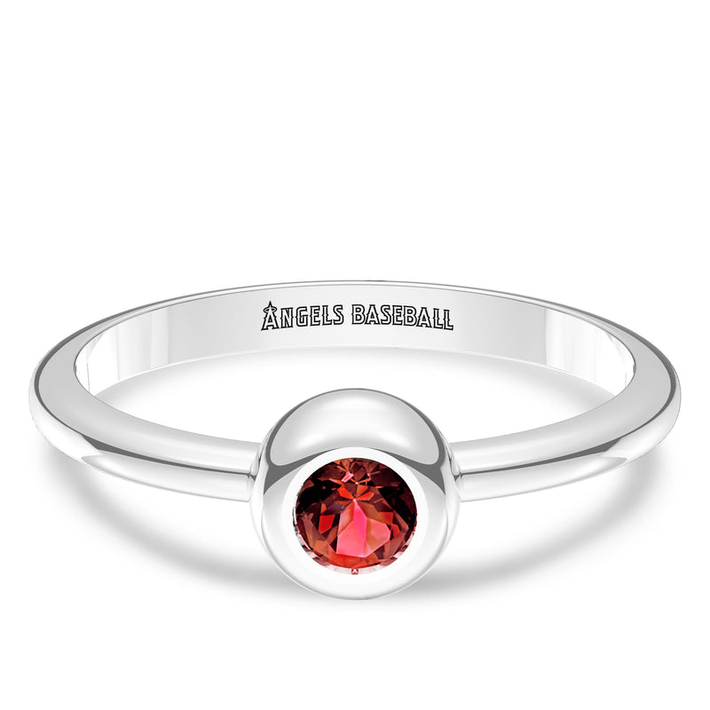Los Angeles Angels Ruby Engraved Ring In Sterling Silver