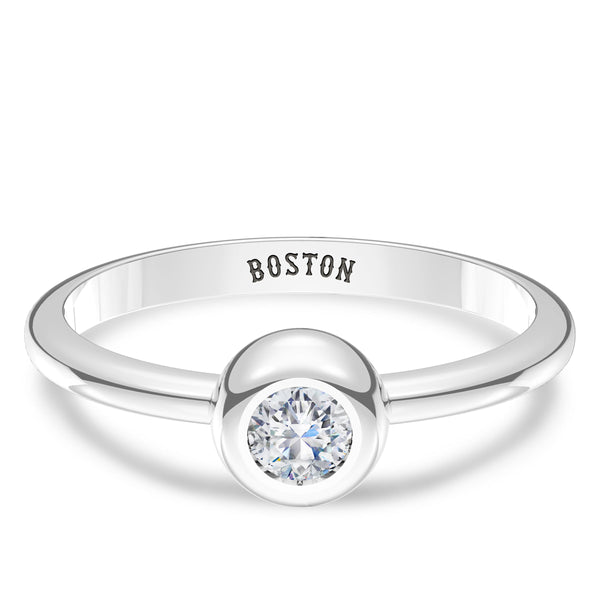 Boston Red Sox Diamond Engraved Ring In Sterling Silver