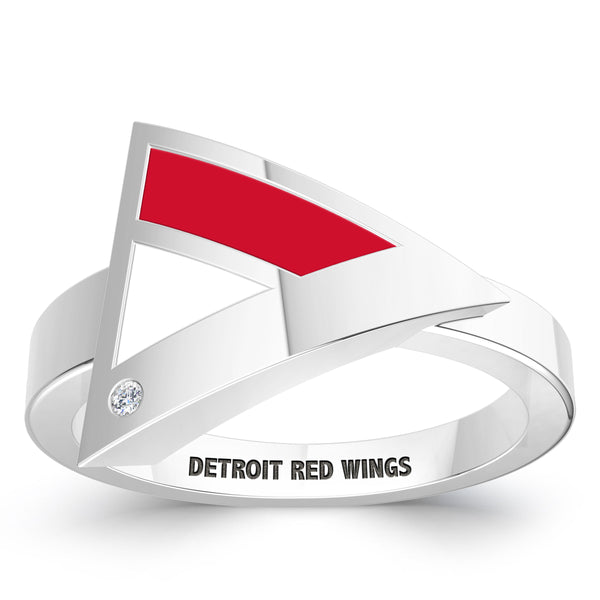 Detroit Redwings Diamond Engraved Geometric Ring In Sterling Silver