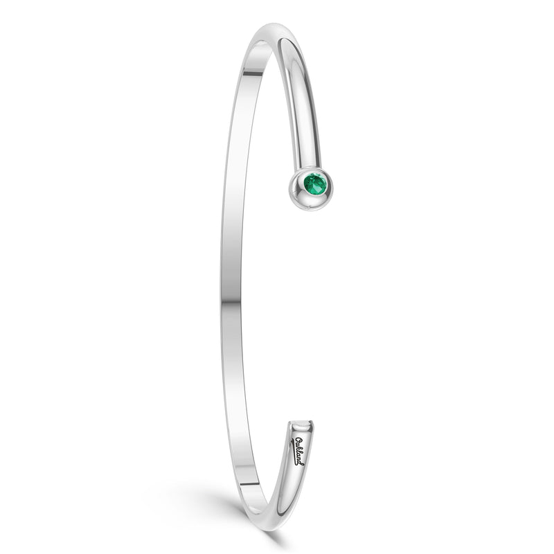 Oakland Athletics Emerald Engraved Cuff Bracelet In Sterling Silver