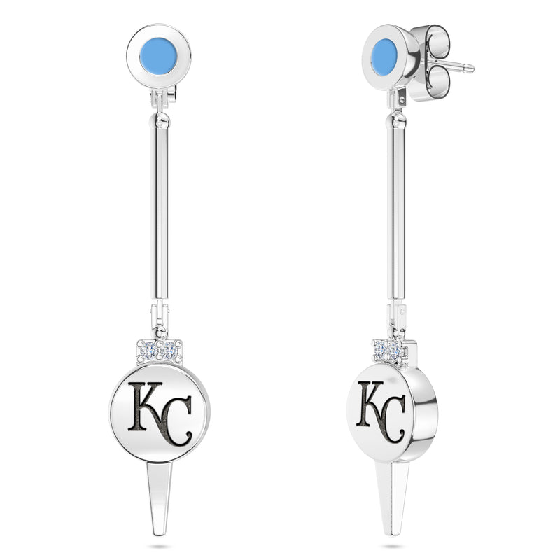 Kansas City Royals Diamond Logo Engraved Enamel Dangle Earring In Sterling Silver