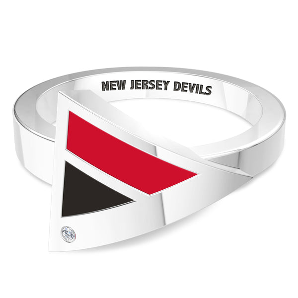 New Jersey Devils Diamond Engraved Geometric Ring In Sterling Silver