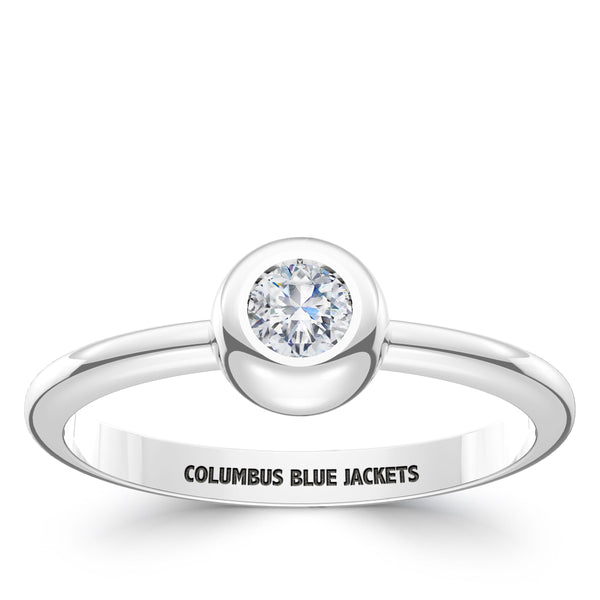 Columbus Blue Jackets Diamond Engraved Ring In Sterling Silver