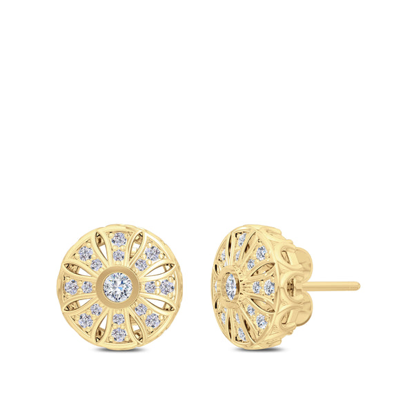 Bixlers Rosette Diamond Milgrain Sun Earrings In 14K Yellow Gold
