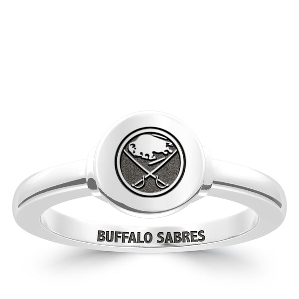 Buffalo Sabres Logo Engraved Ring In Sterling Silver
