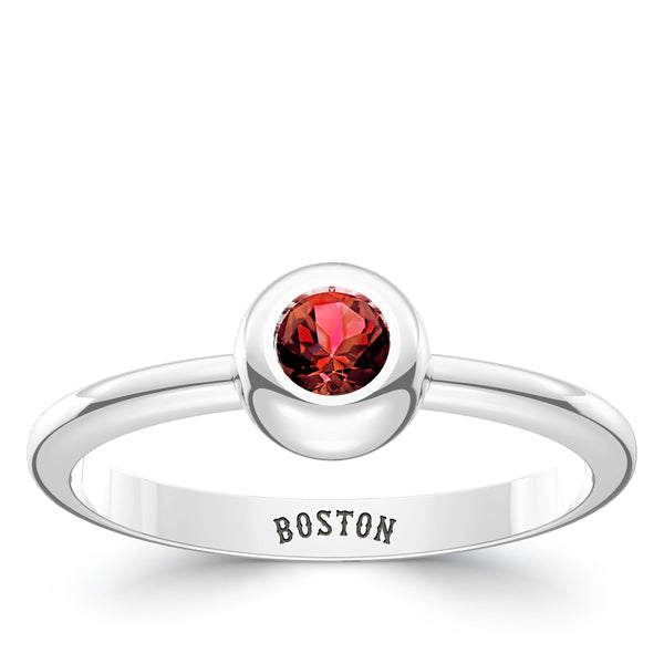 Boston Red Sox Ruby Engraved Ring In Sterling Silver