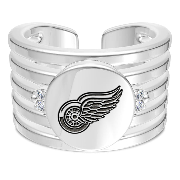 Detroit Redwings Diamond Logo Engraved Multiband Ring In Sterling Silver