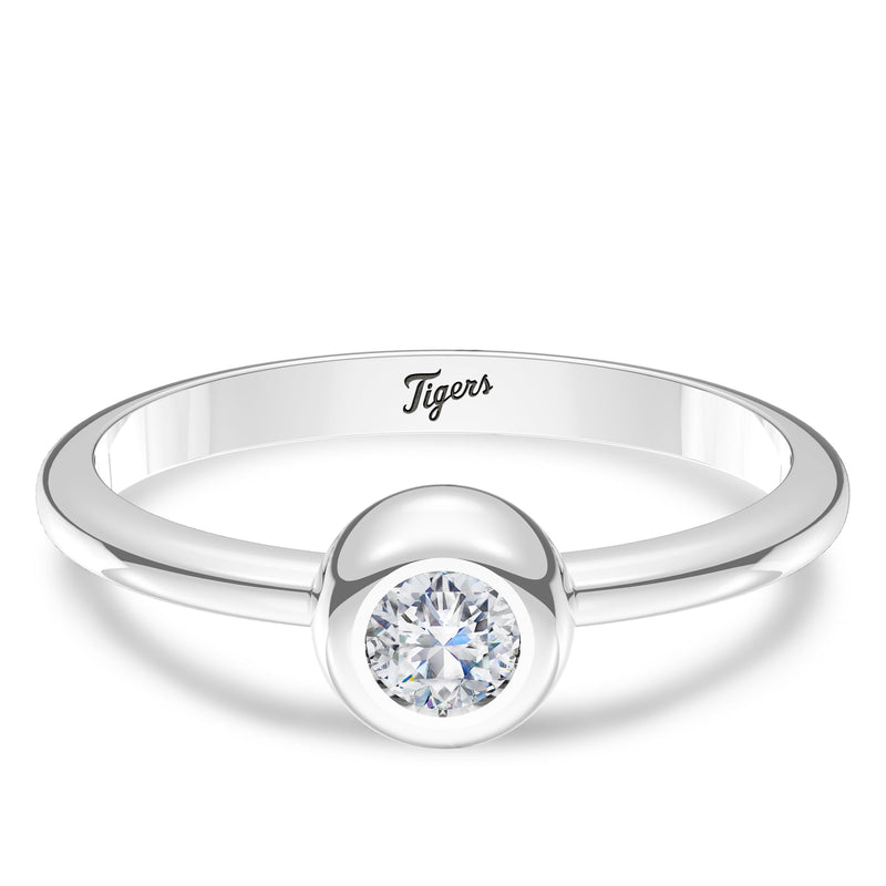 Detroit Tigers Diamond Engraved Ring In Sterling Silver
