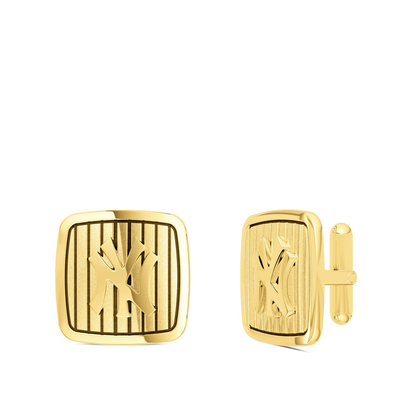 New York Yankees Pinstripe Logo Rounded Cufflink In 14K Yellow Gold