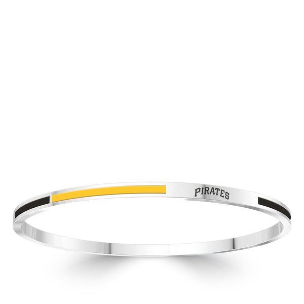 Pittsburgh Pirates Engraved Two-Tone Enamel Bracelet In Sterling Silver