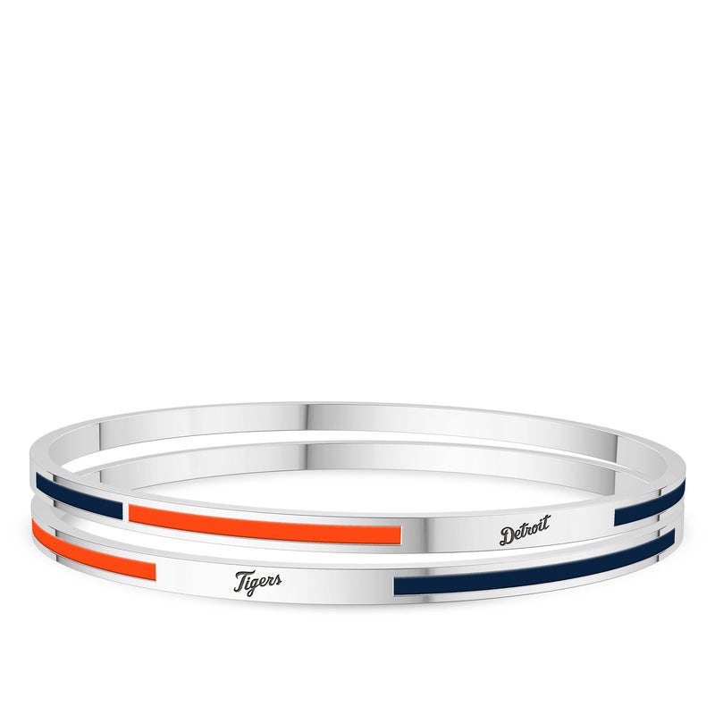 Detroit Tigers Engraved Two-Tone Enamel Bracelet In Sterling Silver