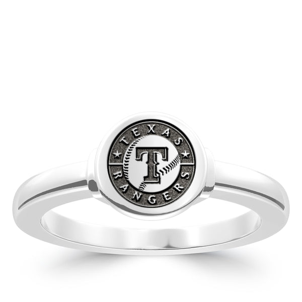 Texas Rangers Logo Engraved Ring In Sterling Silver