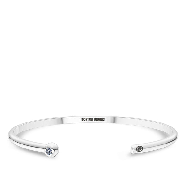 Boston Bruins White Sapphire Engraved Cuff Bracelet In Sterling Silver