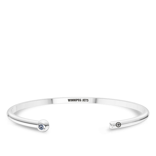 Winnipeg Jets White Sapphire Engraved Cuff Bracelet In Sterling Silver