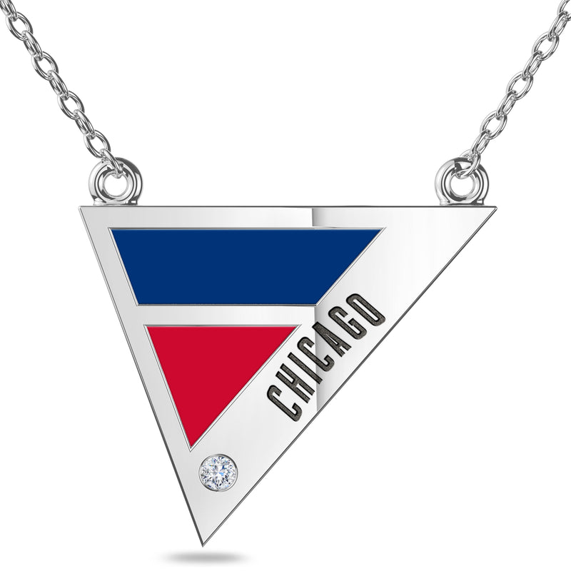 Chicago Cubs Geometric Necklace In Sterling Silver