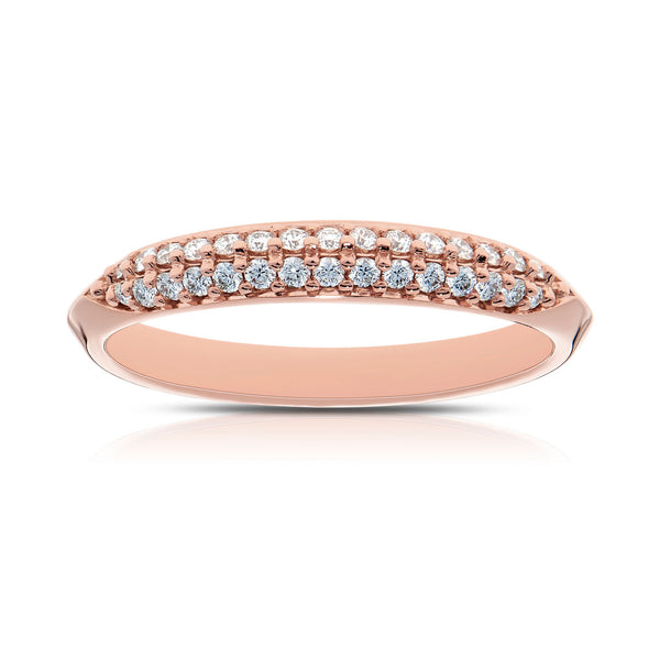 Bixlers Prong Set Diamond Double Row Wedding Band In 14K Rose Gold