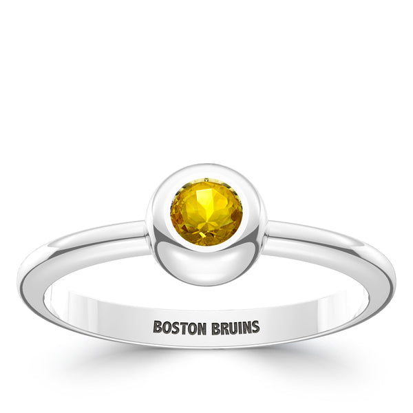 Boston Bruins Yellow Sapphire Engraved Ring In Sterling Silver