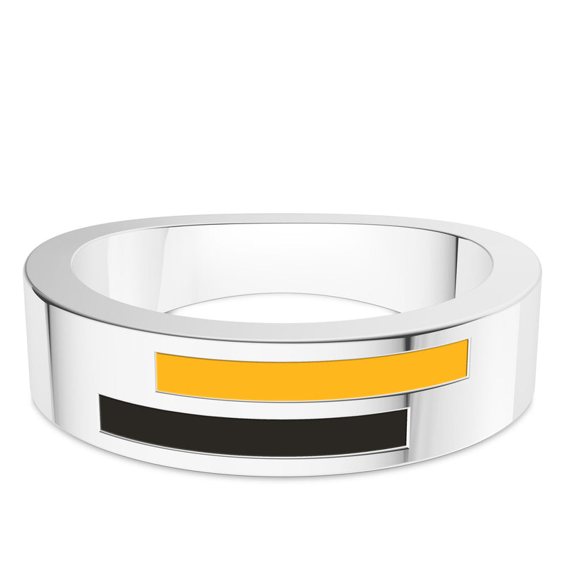 Pittsburgh Pirates Asymmetric Enamel Ring In Sterling Silver