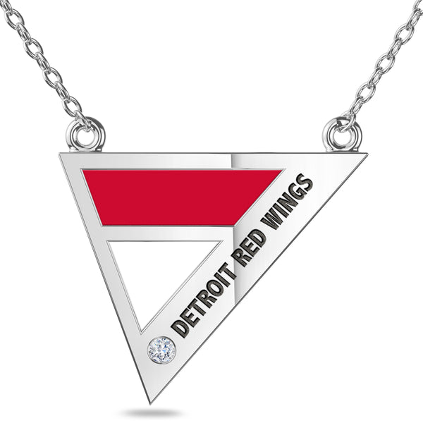 Detroit Redwings Geometric Necklace In Sterling Silver