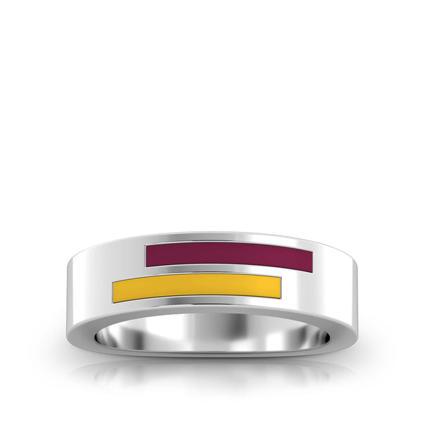 Arizona State University Asymmetric Enamel Ring In Sterling Silver